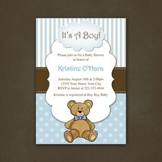 Boy Teddy Bear Baby Shower Invitation Printable File. $12.00, via Etsy.