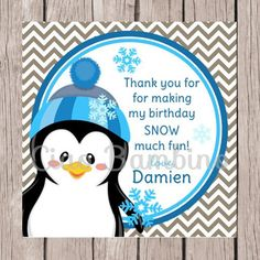 PRINTABLE / Personalized / Penguin Birthday Party Favor Tag / Blue and Gray / Winter ONEderland / Wonderland - 009