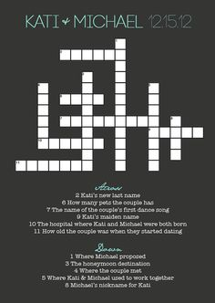 Wedding Crossword Puzzle by KatiBearPhotography on Etsy, $35.00. This is such a great idea and I absolutely love filling out crosswords