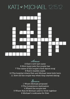 Wedding Crossword Puzzle by KatiBearPhotography on Etsy, $35.00