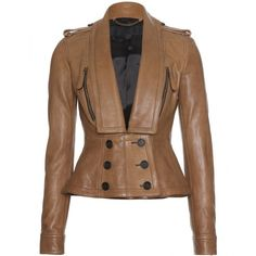 Burberry Prorsum Tailored Leather Jacket With Shawl Collar ($2,675) ❤ liked on Polyvore