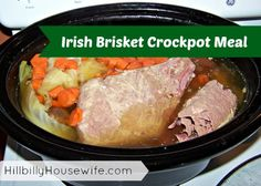 Irish Brisket Crockpot Meal | Hillbilly Housewife - turned out great. Making this again for St Paddy's day. Slow Cooker Recipes, Crockpot Recipes, Cooking Recipes, Healthy Dinner Recipes, Simple Recipes, Brisket, Clean Eating Recipes, Food Dishes, Easy Meals