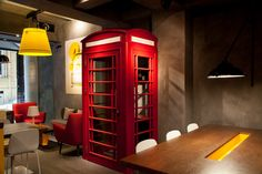 Galata, office, design, coffe, working, enjoy, bird, differently, cafeteria, coffee, break, working place, red arm chairs, telephone box, white chairs, yellow, light