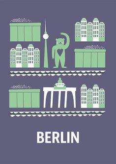 Weiteres - City Poster Berlin - ein Designerstück von Doro-Illustrations bei DaWanda
