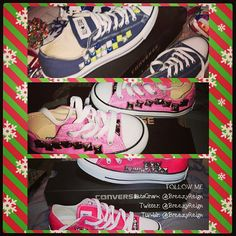 Hot pink womens Converse All Stars lowtop with silver studs BreezyReign.etsy.com $105.00