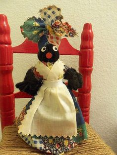 Adorable Vintage Hand Crafted Black Americana New Orleans Dinner Bell Decor Doll Ornament Collectible ~ Early 1920s