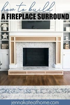 How to build an easy DIY fireplace surround and mantel This simple DIY tutorial will show you how easy it is to build a fireplace surround and mantel around an existing brick fireplace. Diy Fireplace Mantel, Build A Fireplace, Farmhouse Fireplace, Fireplace Remodel, Fireplace Design, Brick Fireplace, Fireplace Ideas, Fireplace Makeovers, Fireplace Surround Diy