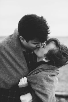 winter engagement - blanket wrapped around both of you