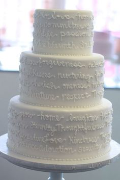 Words on cakes- could do wedding song, favorite poem, etc.  Fondant Cakes « Sweet & Saucy Shop Sweet & Saucy Shop