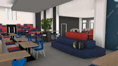 Leerplein voor voortgezet onderwijs. In het midden staat The Rock Island. Hier kan op drie levels gezeten worden. Daarnaast staan de blauw Match stoelen aan de kolomvoettafels.