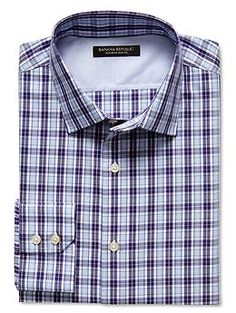 Slim fit non-iron multi-gingham shirt in Acai Berry  95f5d6421a50