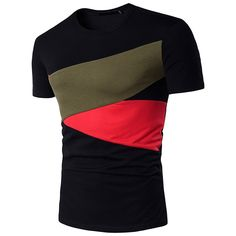 Buy Men Hit Color Short Sleeve Casual T-Shirt - Black - online, fidn many other Men's T-Shirts Cheap T Shirts, Casual T Shirts, Men Casual, Men's Shirts, Mode Masculine, Chemise Fashion, Mens Cotton Shorts, European Fashion, European Style