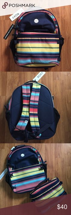 Sale  Brand New Roxy backpack Super cute print on this brand new backpack! Tags still on!!! Front pouch detaches and is a lunch bag. Comes with water bottle and lunch container which fits perfect! Roxy Bags Backpacks