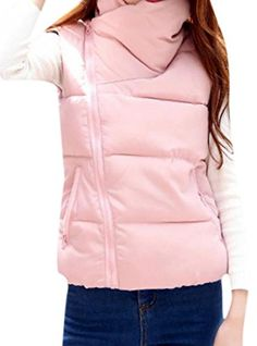 fb428d56cda0f8 Zimaes Women s Warm Stand Up Collar Vest Casual Jackets Pink L