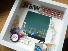 Papierkram und anderes... Travel Shadow Boxes, 3d Picture Frame, Scrabble Frame, Crafts With Pictures, Paper Crafts, Diy Crafts, Travel Memories, Box Frames, Special Gifts
