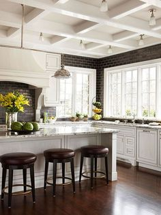 white kitchen, coffered ceiling, black brick pattern tile to ceiling  #kitchen #decor #ceiling