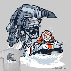 """Jurassic Hoth"" by Obvian. The dinosaur-like AT-AT chases Luke Skywalker in a snowspeeder. [Sold at NEATOSHOP]"