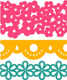 Silhouette Online Store - View Design #33616: 3 flower borders