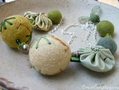 sterling silver necklace with green felt bead by creationsbyeve, $48.00