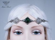 Emerald gem elven circlet-fairy circlet-elf circlet-elf headdress-elven circlet-elven headpiece-gothic circlet-elven headdress