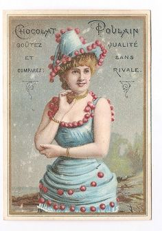 Jeune femme Collier Chapeau Robe bleue  - - Chromo Chocolat Poulain - Trade Card