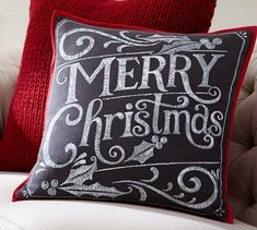 Merry Christmas Pillow Cover | Pottery Barn $30