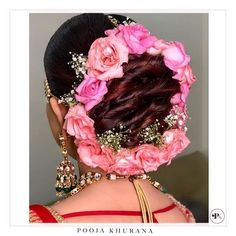 Indian Bridal Hairstyles, Bride Hairstyles, Hairdos, Party Makeup, Bridal Makeup, Bridal Hairdo, London College Of Fashion, Wedding Function, Floral Hair