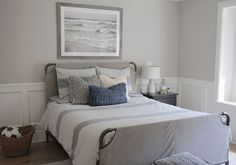 Boys Bedroom Painted In A Soft Greige Paint Color Benjamin Moore Hc 172 Revere