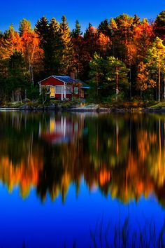 Fall in little cottage by the lake