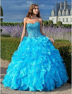 Ball Gown Sweetheart Floor-length Organza Prom/Evening Dress With Cascading Ruffles - USD $ 399.99