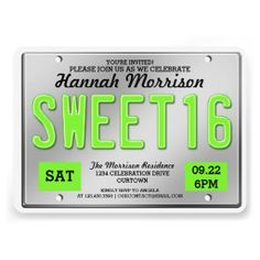 Green License Plate Sweet 16 Party Invitations
