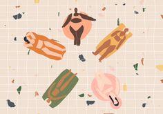 Summer swim - girls floating in terrazzo pool animation - Pattern Illustration, Graphic Design Illustration, Web Design, Animation, Illustrations, Wall Art Designs, Motion Design, Metal Wall Art, Wonderland