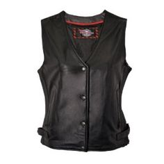 Milwaukee Motorcycle Clothing Company Ladies Vest with Ribbed Kidney Pad (Black,X-Large)