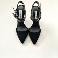 """🚨 FINAL PRICE Steve Madden suede pumps NWT & box. Steve Madden black suede Strappy pumps. Point toe pump with double buckle straps. Heel is 4.5"""". 💚 Reasonable offers welcome via the OFFER button! 💚 Bundle discount available!(20% off 3+ items) 💔 No trades/off Posh transactions Steve Madden Shoes Heels"""