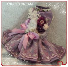 Beautiful Lavender, embroidered overlay with pink and lavender ribbon , swarvoski crystals