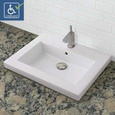 Classically Redefined Rectangular Semi-Recessed Vitreous China Bathroom sink CWH