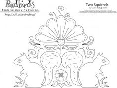 Free embroidery pattern - squirrels by Bad Bird