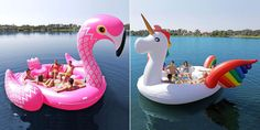This Rainbow Unicorn Pool Float Fits Six People and It's Where the Party's Atcountryliving