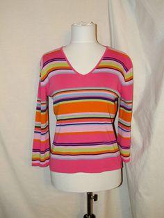 Sz L Joseph A. Knit Top Pink Green Orange Stripes 3/4 Sleeves V Neckline #JosephA #KnitTop #Casual