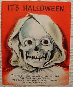 Peep Hole Eyes Spooky Skeleton 50's Vintage Hallmark Halloween Greeting Card | eBay