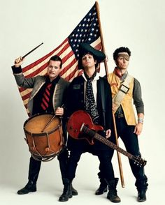 Green Day gets patriotic in this behind-the-scenes shot from the May 28, 2009 cover shoot.