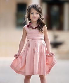 Look at this #zulilyfind! Peach Cicily Dress - Infant, Toddler & Girls by Persnickety Clothing #zulilyfinds