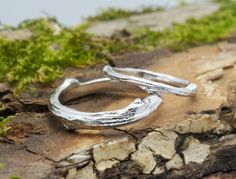 Twig matching wedding bands, 14k recycled gold, textured twig rings,  tree branch