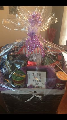 Sympathy Basket of food items for Nana by Suzi Q - assorted treats, teas & plaque.