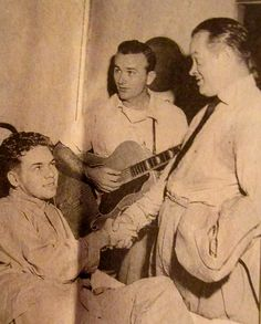 Cpl. Robin Matthews of Port Charlotte shakes hands with Bob Hope while country music star Jimmy Wakely looks on. The young medic was recovering from Hepatitis-B in a hospital in Kyoto, Japan. Hope was going through town on one of his USO tours. Photo provided