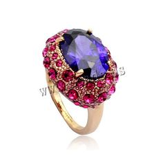 Crystal Finger Ring, Zinc Alloy, with Crystal, rose gold color plated, with Austria rhinestone & faceted, lead & cadmium free, 16-19mm, US Ring Size:5.5-9.5, 3PCs/Bag,china wholesale jewelry beads