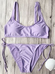 Tie Side String Scoop Neck Bikini Set – Ncocon Source by merimaguti Sets Bikini Violet, Purple Bikini Set, Bandeau Bikini Set, Haut Bikini, Crop Top Bikini, Bikini Bum, Purple Bathing Suit, Cute Bathing Suits, Cute Swimsuits