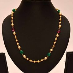Anvi's pearls, rubies, emeralds chain with gold toned beads - Online Shopping for Necklaces by Anvi Collections