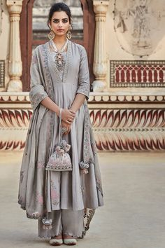 Wedding Sarees 86588 Grey Embroidered Sharara Set by Matsya Indian Fashion Dresses, Dress Indian Style, Indian Designer Outfits, Designer Dresses, Designer Wear, Indian Wedding Outfits, Pakistani Outfits, Indian Outfits, Pakistani Sharara