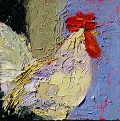 Nancy Standlee Art Blog: Sunrise Rooster 13017, Rooster Oil Painting, 6x6, Day 17 of the 30/30 Challenge by Texas Artist Nancy Standlee